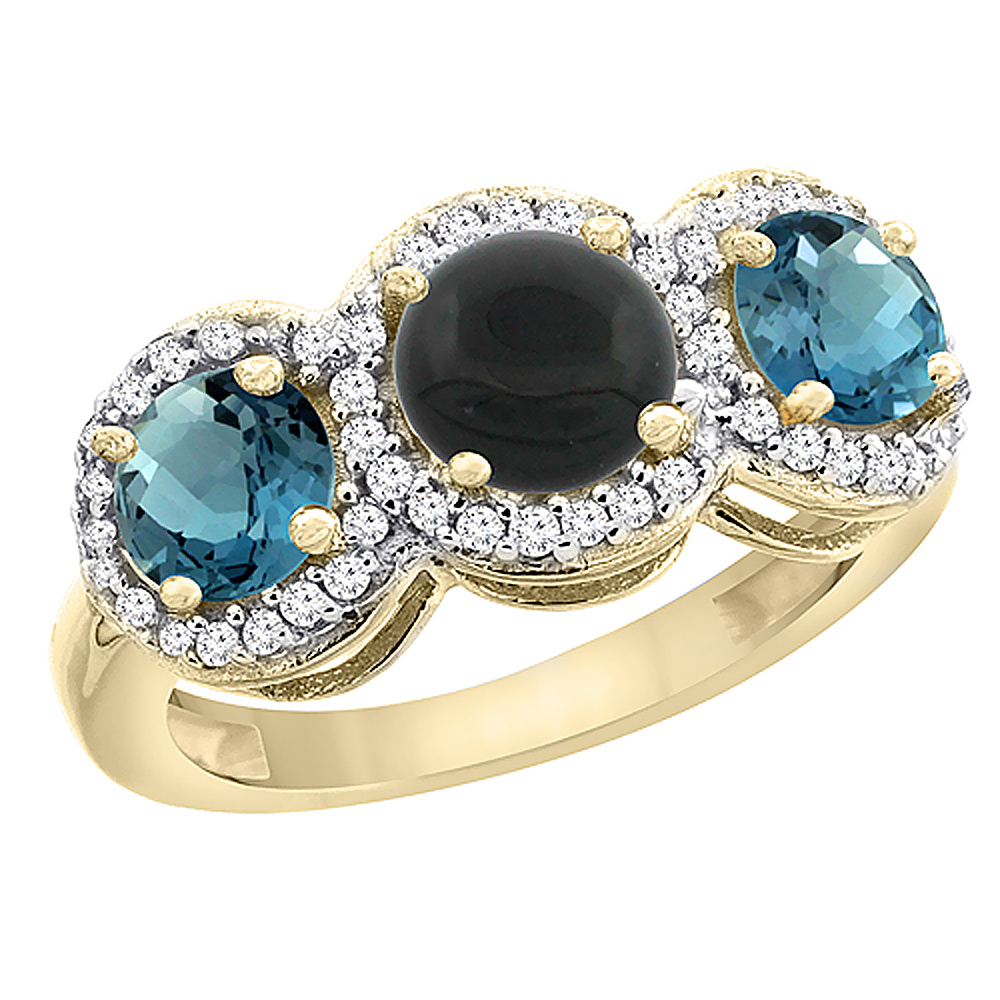 14K Yellow Gold Natural Black Onyx & London Blue Topaz Sides Round 3-stone Ring Diamond Accents, sizes 5 - 10