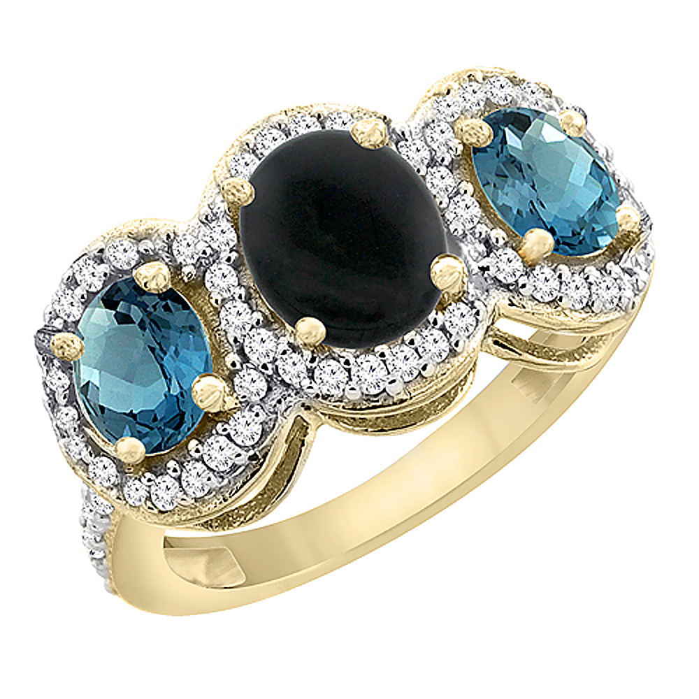 14K Yellow Gold Natural Black Onyx & London Blue Topaz 3-Stone Ring Oval Diamond Accent, sizes 5 - 10