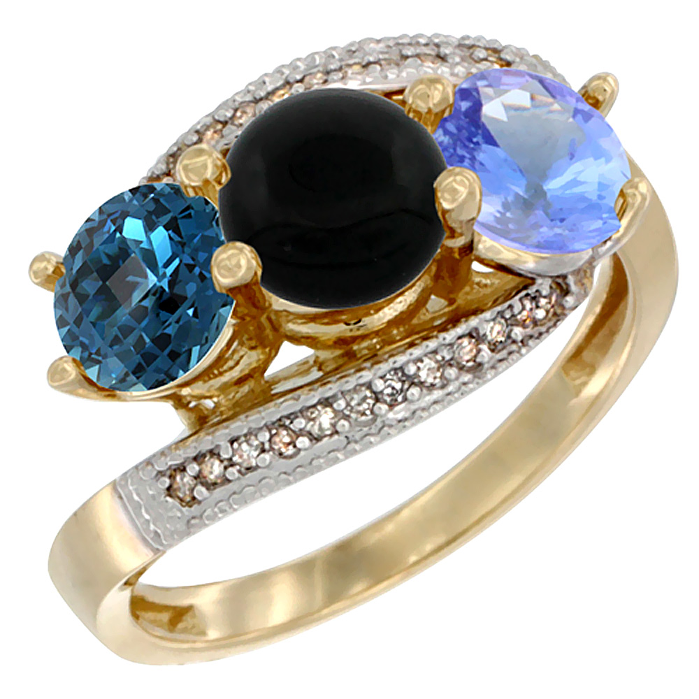 14K Yellow Gold Natural London Blue Topaz, Black Onyx & Tanzanite 3 stone Ring Round 6mm Diamond Accent, sizes 5 - 10