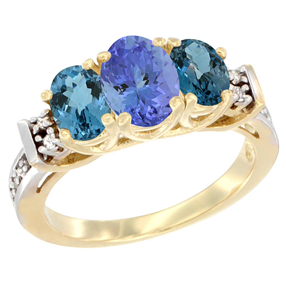 14K Yellow Gold Natural Tanzanite & London Blue Ring 3-Stone Oval Diamond Accent