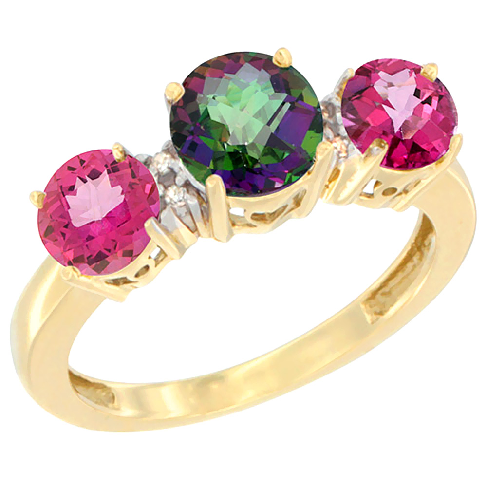 14K Yellow Gold Round 3-Stone Natural Mystic Topaz Ring & Pink Topaz Sides Diamond Accent, sizes 5 - 10