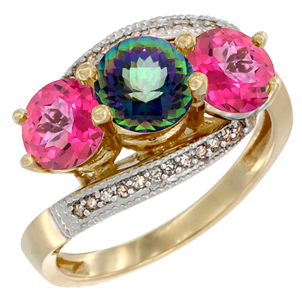 14K Yellow Gold Natural Mystic Topaz & Pink Topaz Sides 3 stone Ring Round 6mm Diamond Accent, sizes 5 - 10