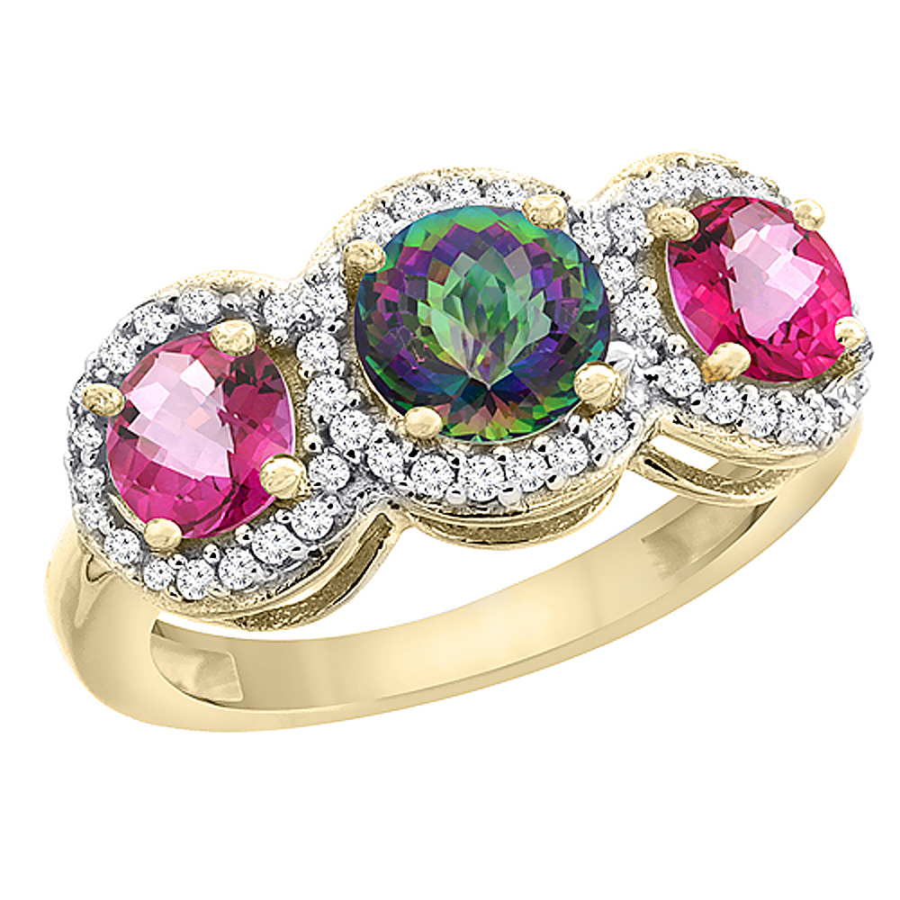 14K Yellow Gold Natural Mystic Topaz & Pink Topaz Sides Round 3-stone Ring Diamond Accents, sizes 5 - 10