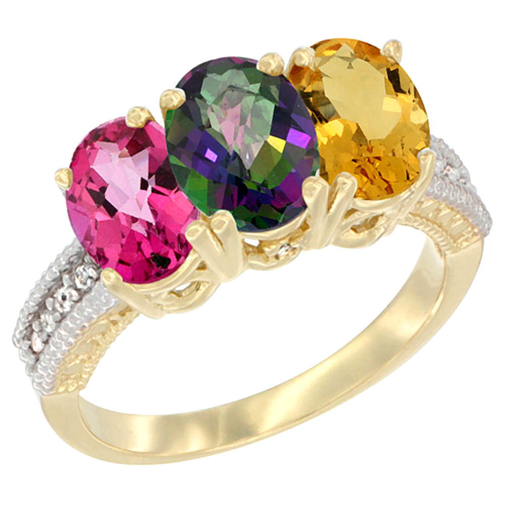 14K Yellow Gold Natural Pink Topaz, Mystic Topaz & Citrine Ring 3-Stone 7x5 mm Oval Diamond Accent, sizes 5 - 10