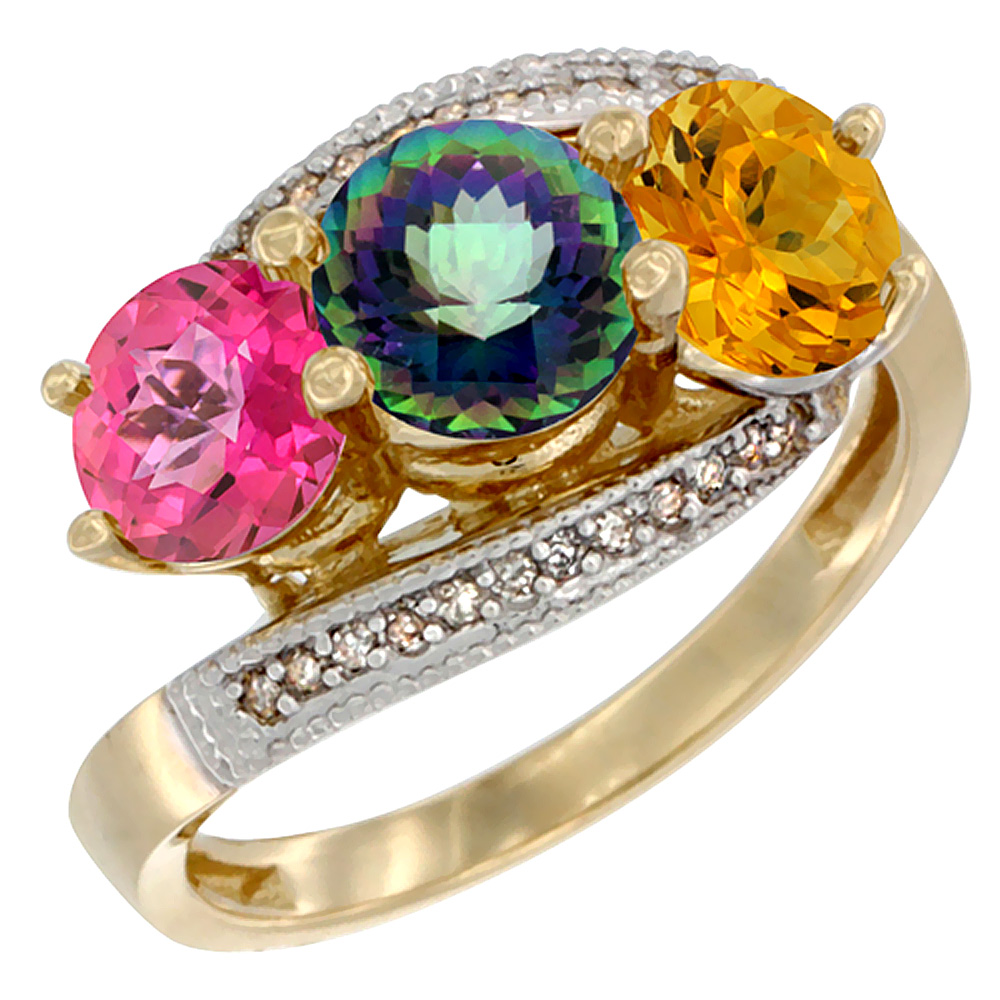 14K Yellow Gold Natural Pink Topaz, Mystic Topaz & Citrine 3 stone Ring Round 6mm Diamond Accent, sizes 5 - 10