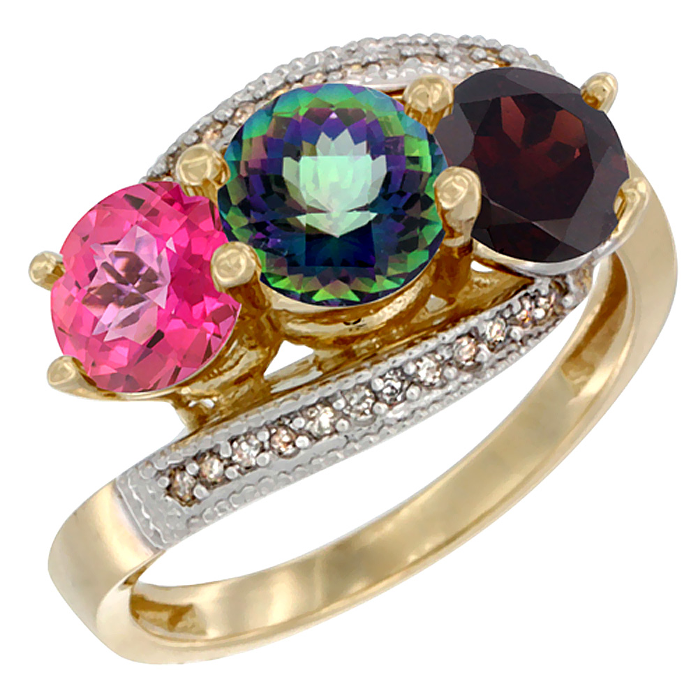 14K Yellow Gold Natural Pink Topaz, Mystic Topaz & Garnet 3 stone Ring Round 6mm Diamond Accent, sizes 5 - 10