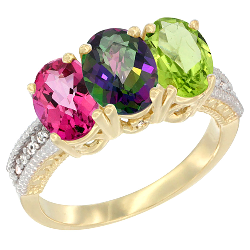 14K Yellow Gold Natural Pink Topaz, Mystic Topaz & Peridot Ring 3-Stone 7x5 mm Oval Diamond Accent, sizes 5 - 10