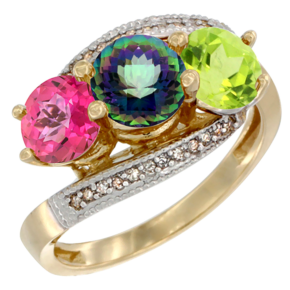 14K Yellow Gold Natural Pink Topaz, Mystic Topaz & Peridot 3 stone Ring Round 6mm Diamond Accent, sizes 5 - 10
