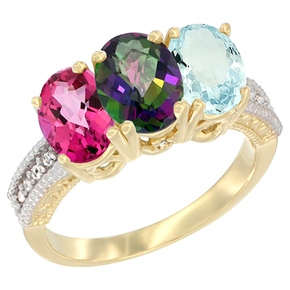 14K Yellow Gold Natural Pink Topaz, Mystic Topaz & Aquamarine Ring 3-Stone 7x5 mm Oval Diamond Accent, sizes 5 - 10