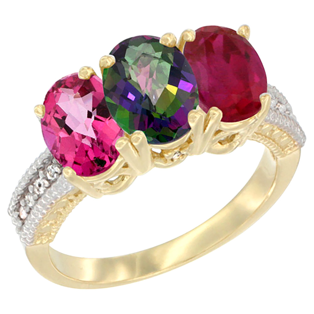 14K Yellow Gold Natural Pink Topaz, Mystic Topaz & Enhanced Ruby Ring 3-Stone 7x5 mm Oval Diamond Accent, sizes 5 - 10