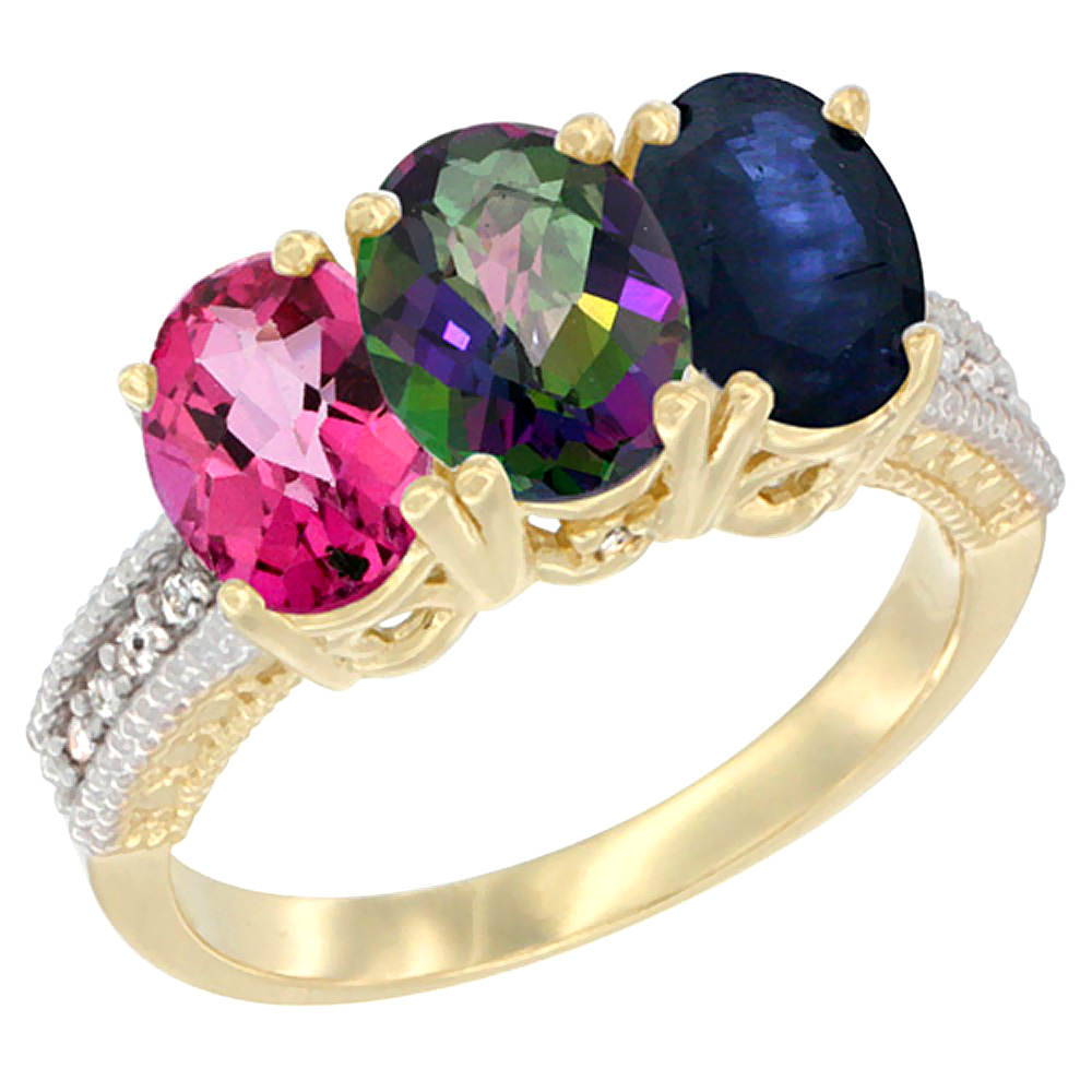 14K Yellow Gold Natural Pink Topaz, Mystic Topaz & Blue Sapphire Ring 3-Stone 7x5 mm Oval Diamond Accent, sizes 5 - 10