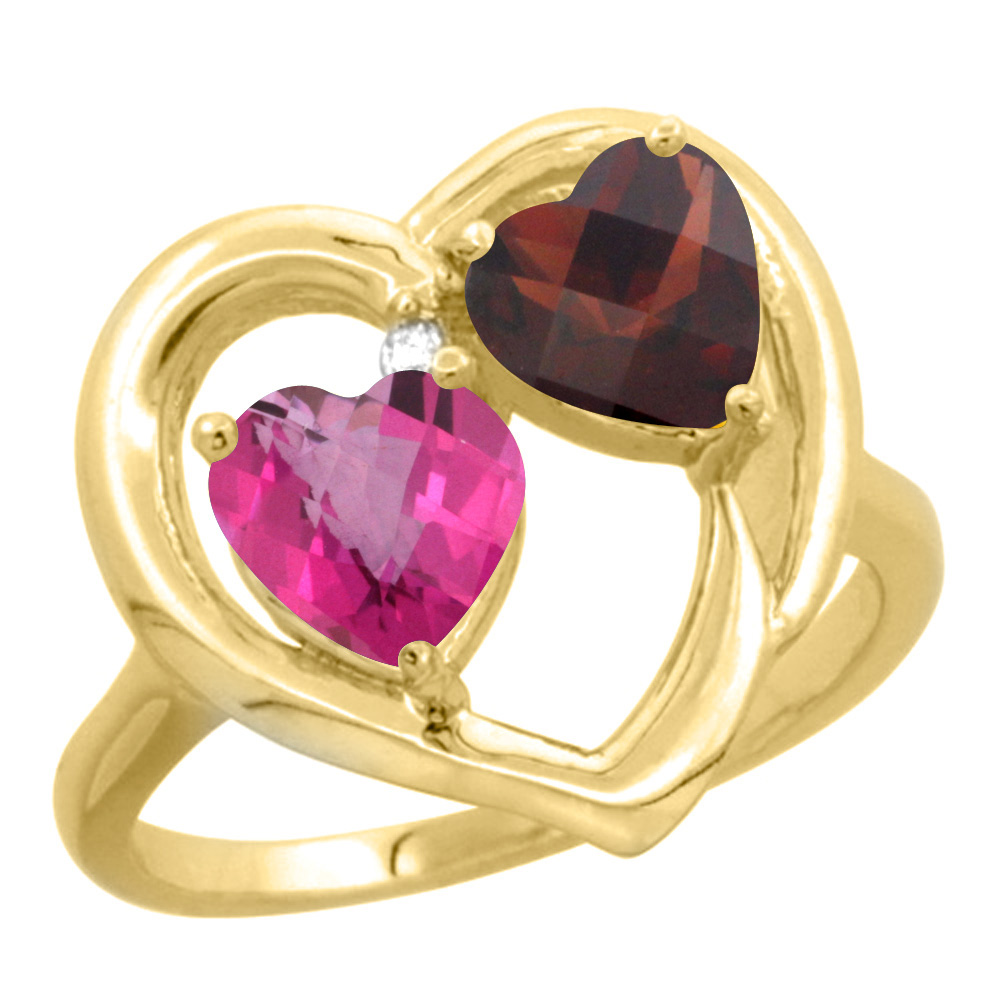 14K Yellow Gold Diamond Two-stone Heart Ring 6 mm Natural Pink Topaz & Garnet, sizes 5-10