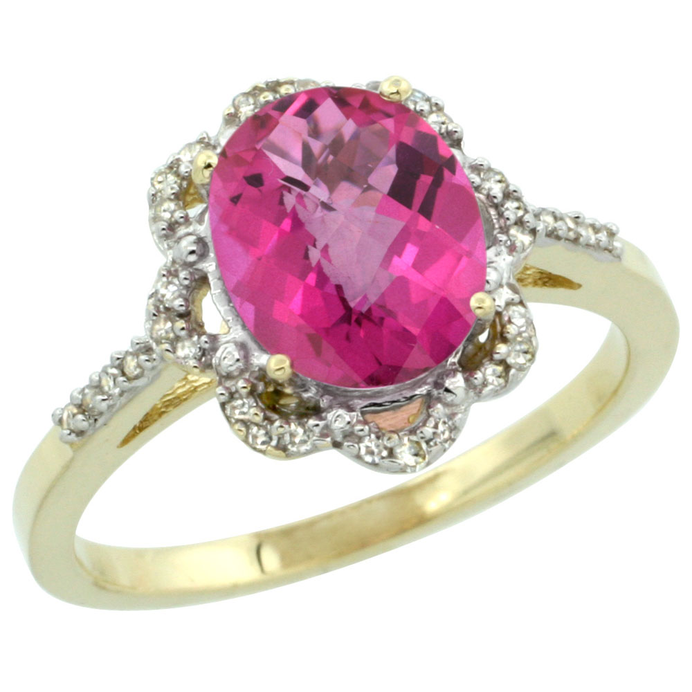 10K Yellow Gold Diamond Halo Natural Pink Topaz Engagement Ring Oval 9x7mm, sizes 5-10