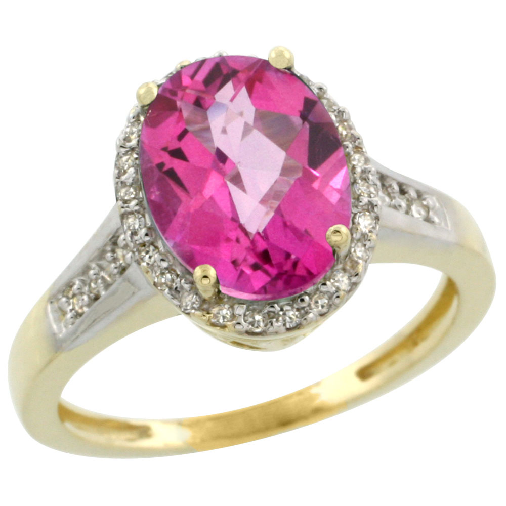 14K Yellow Gold Diamond Natural Pink Topaz Engagement Ring Oval 10x8mm, sizes 5-10