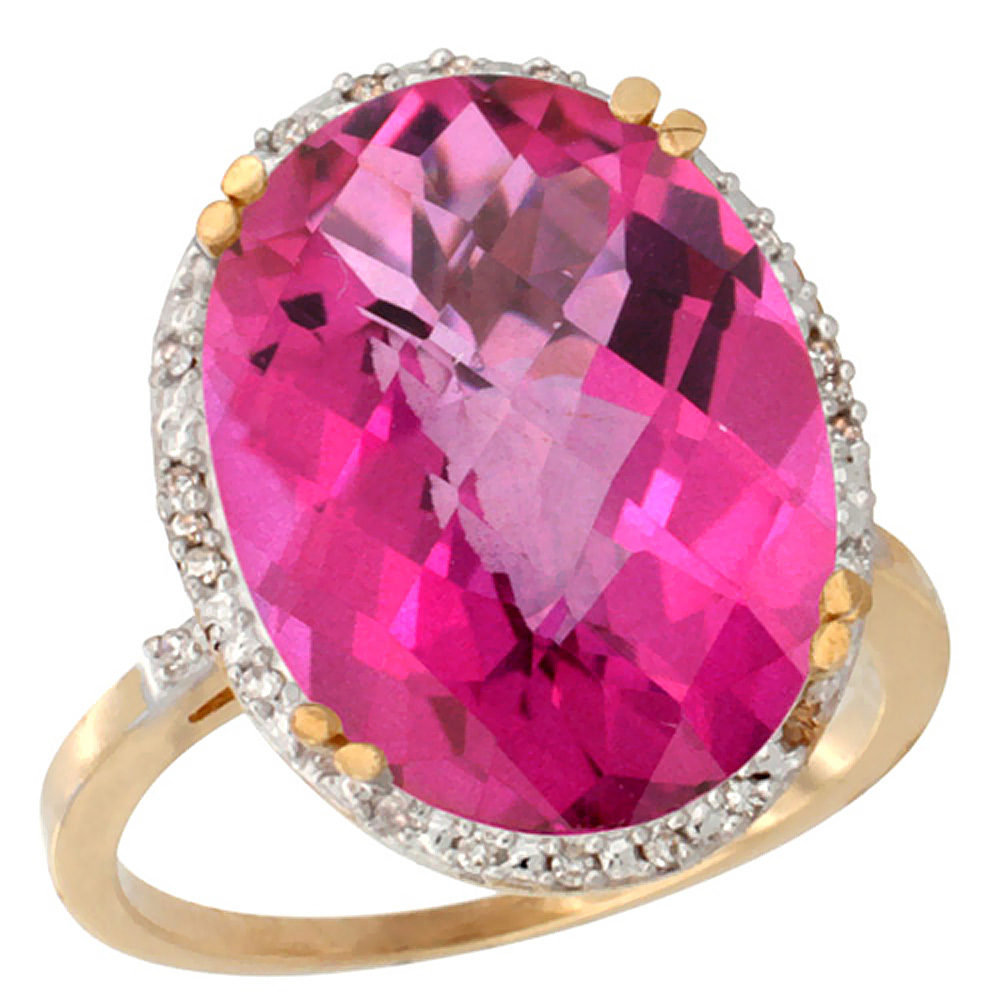 14K Yellow Gold Natural Pink Topaz Ring Large Oval 18x13mm Diamond Halo, sizes 5-10