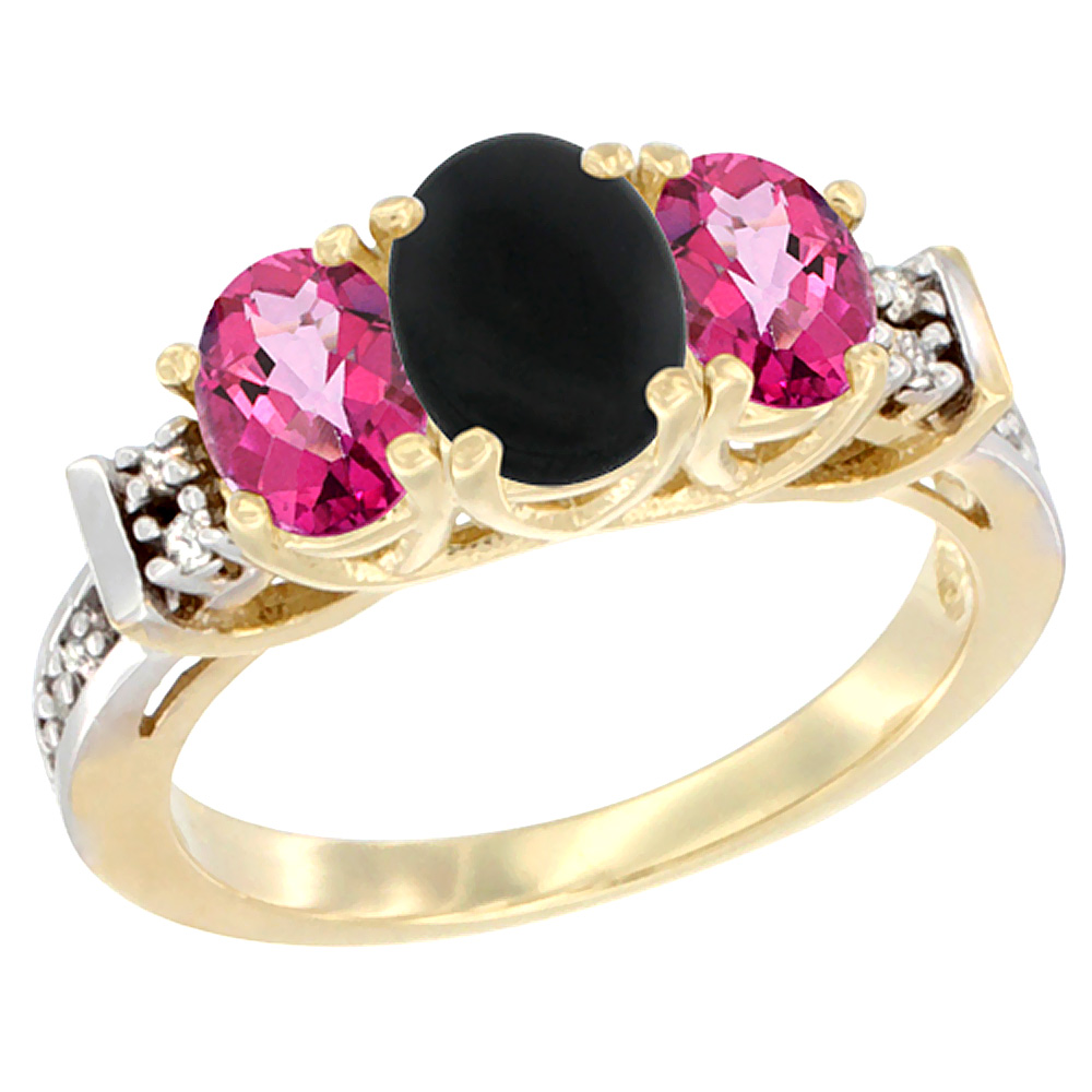 14K Yellow Gold Natural Black Onyx & Pink Topaz Ring 3-Stone Oval Diamond Accent