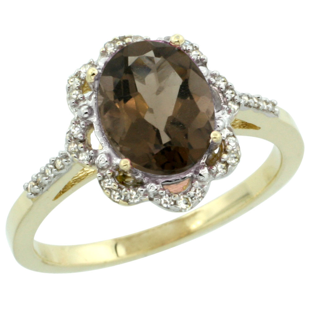 14K Yellow Gold Diamond Halo Natural Smoky Topaz Engagement Ring Oval 9x7mm, sizes 5-10
