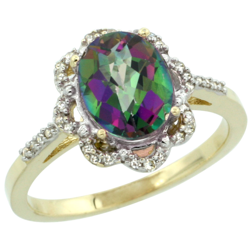 10K Yellow Gold Natural Diamond Halo Mystic Topaz Engagement Ring Oval 9x7mm, sizes 5-10