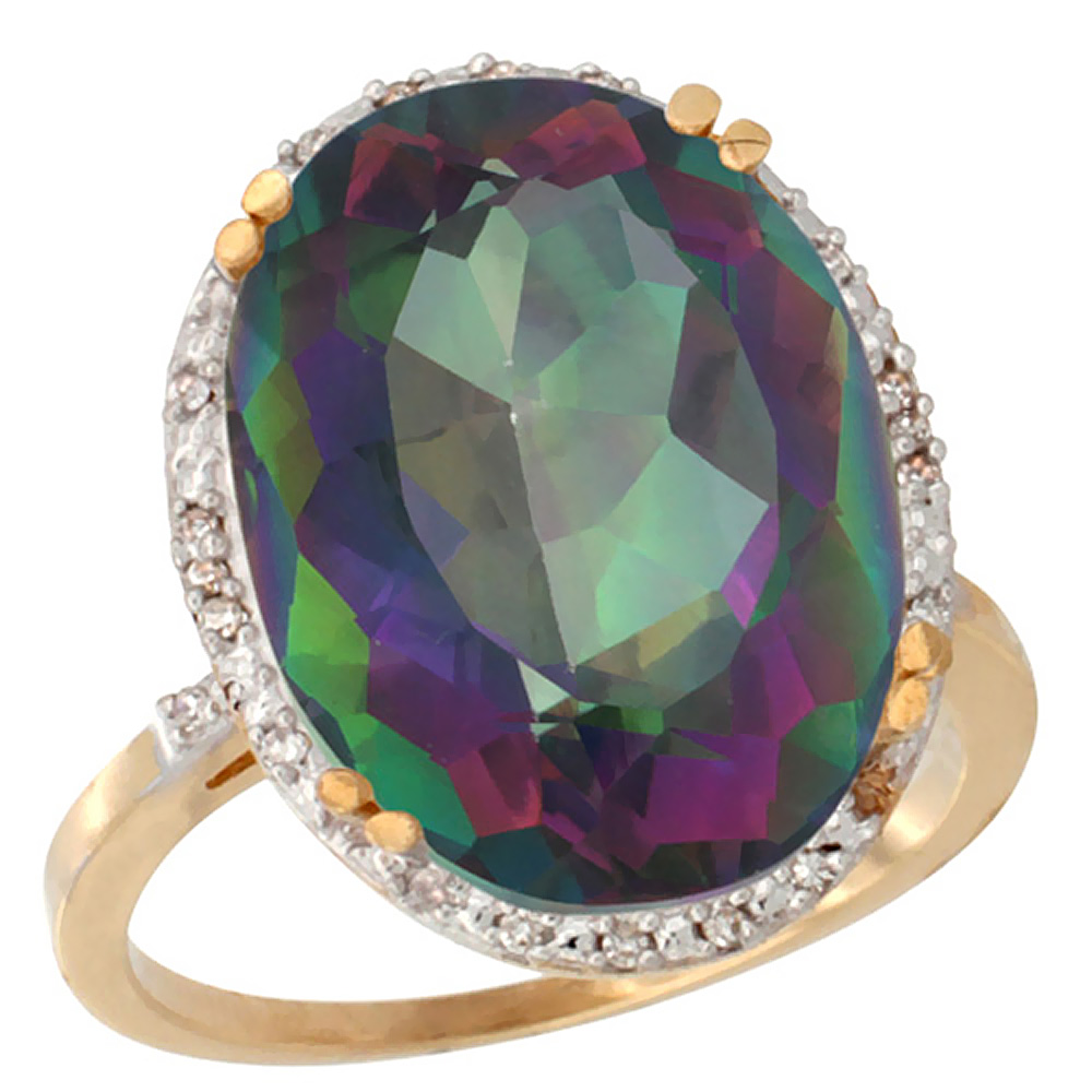 10k Yellow Gold Natural Mystic Topaz Ring Large Oval 18x13mm Diamond Halo, sizes 5-10