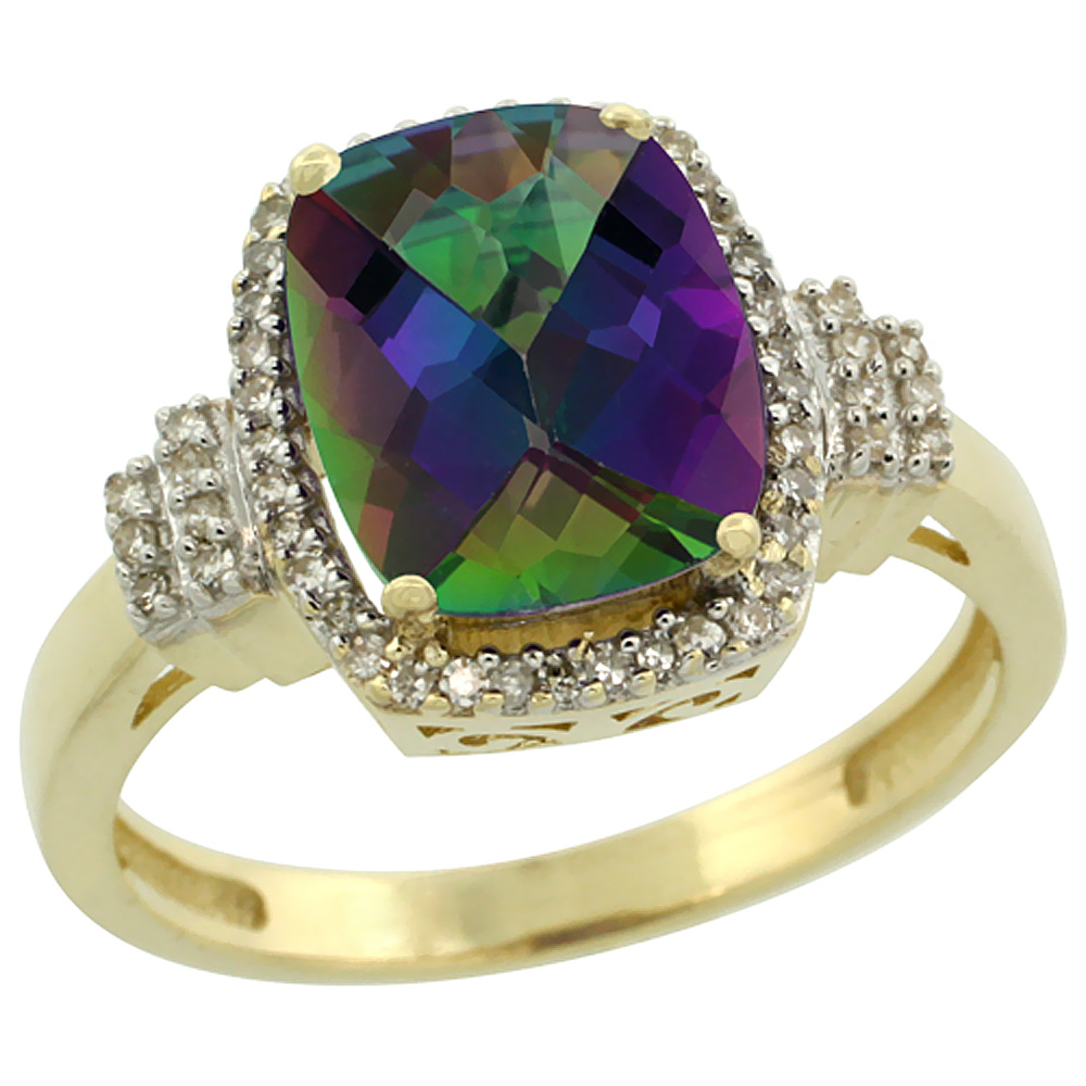 10k Yellow Gold Natural Mystic Topaz Ring Cushion-cut 9x7mm Diamond Halo, sizes 5-10