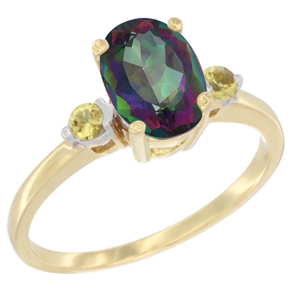 14K Yellow Gold Natural Mystic Topaz Ring Oval 9x7 mm Yellow Sapphire Accent, sizes 5 to 10