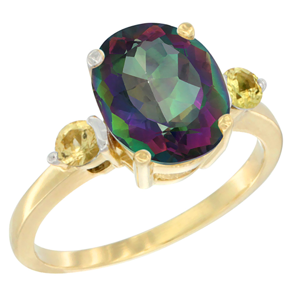 14K Yellow Gold Natural Mystic Topaz Ring Oval 10x8mm Yellow Sapphire Accent, sizes 5 - 10