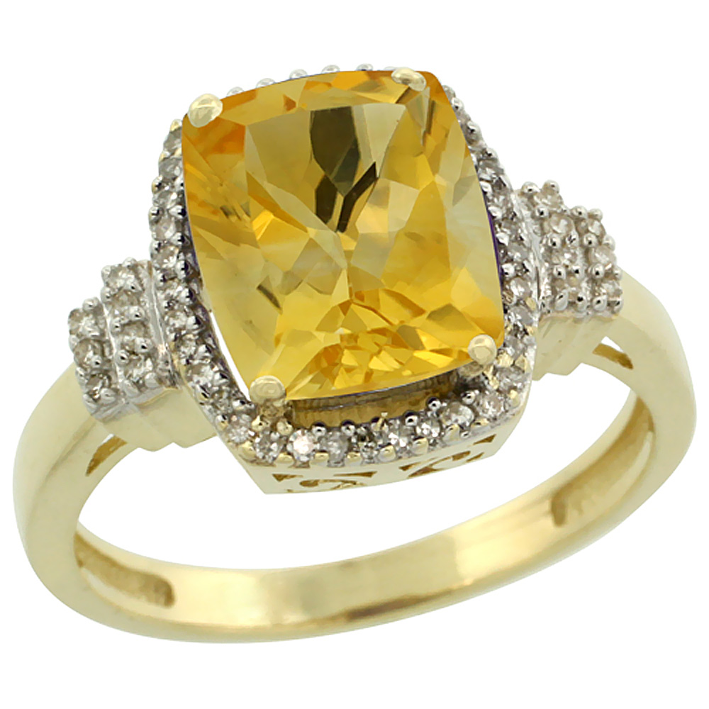 10k Yellow Gold Natural Citrine Ring Cushion-cut 9x7mm Diamond Halo, sizes 5-10