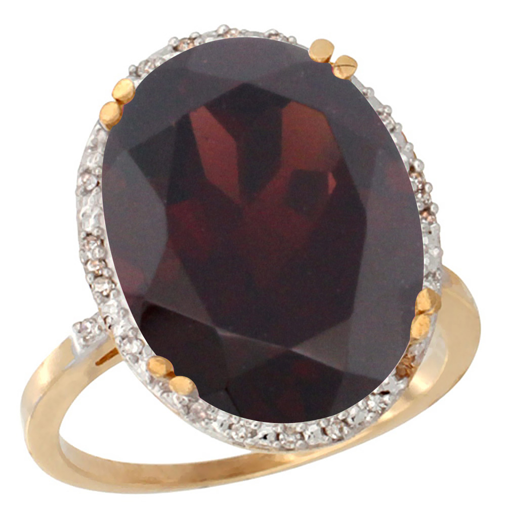 14K Yellow Gold Natural Garnet Ring Large Oval 18x13mm Diamond Halo, sizes 5-10