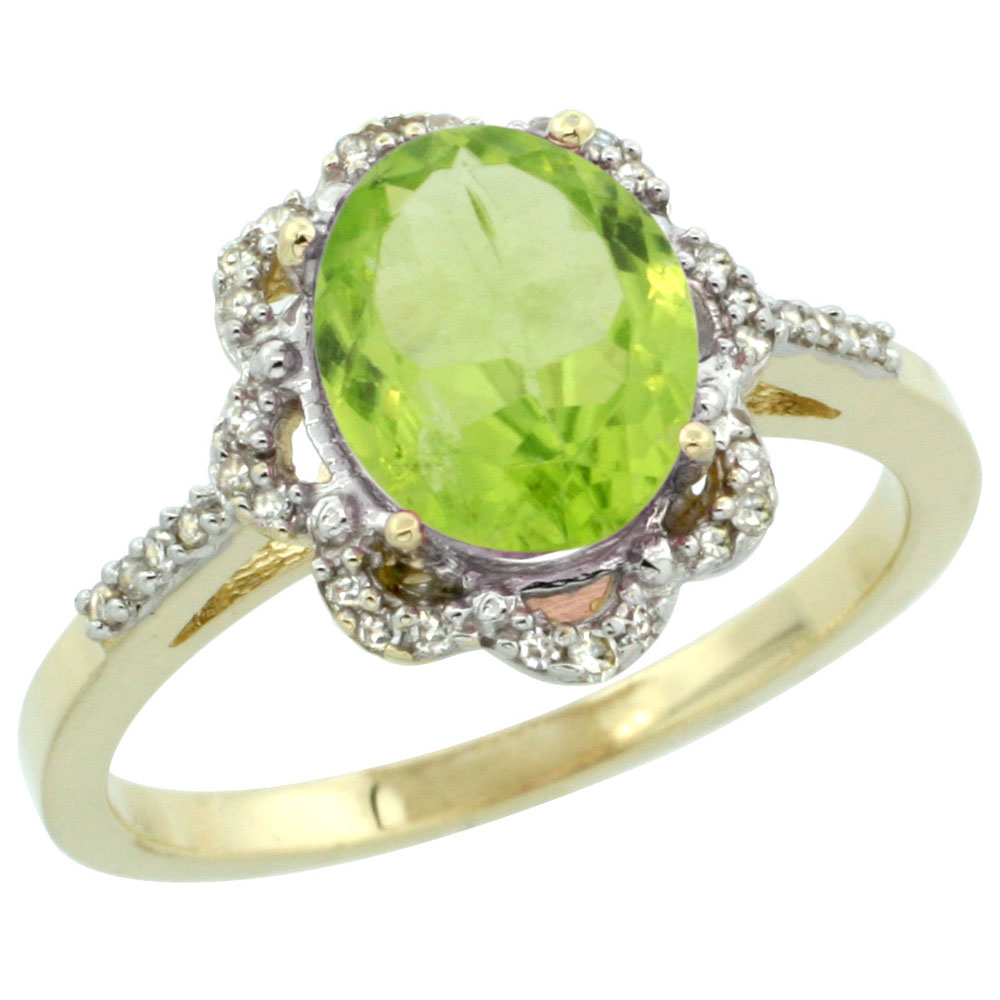 10K Yellow Gold Diamond Halo Natural Peridot Engagement Ring Oval 9x7mm, sizes 5-10