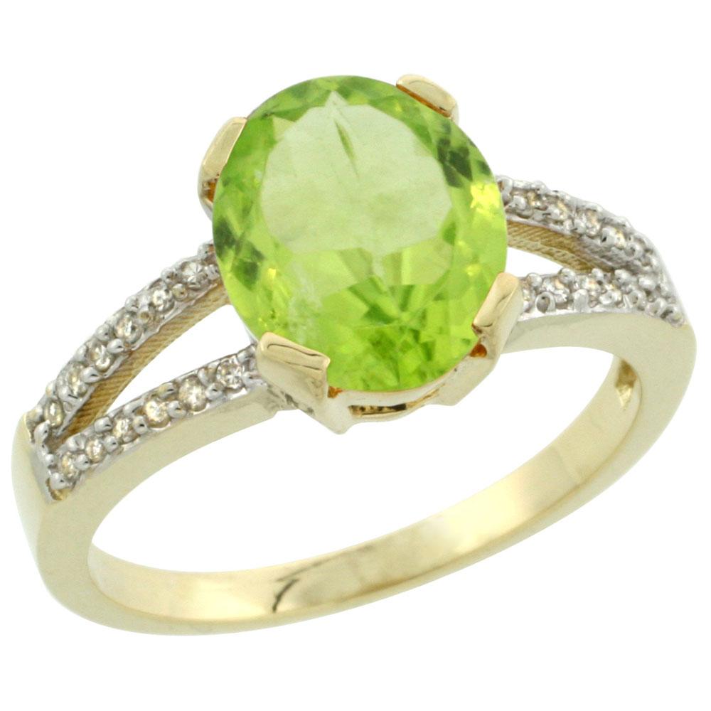 10K Yellow Gold Diamond Natural Peridot Engagement Ring Oval 10x8mm, sizes 5-10