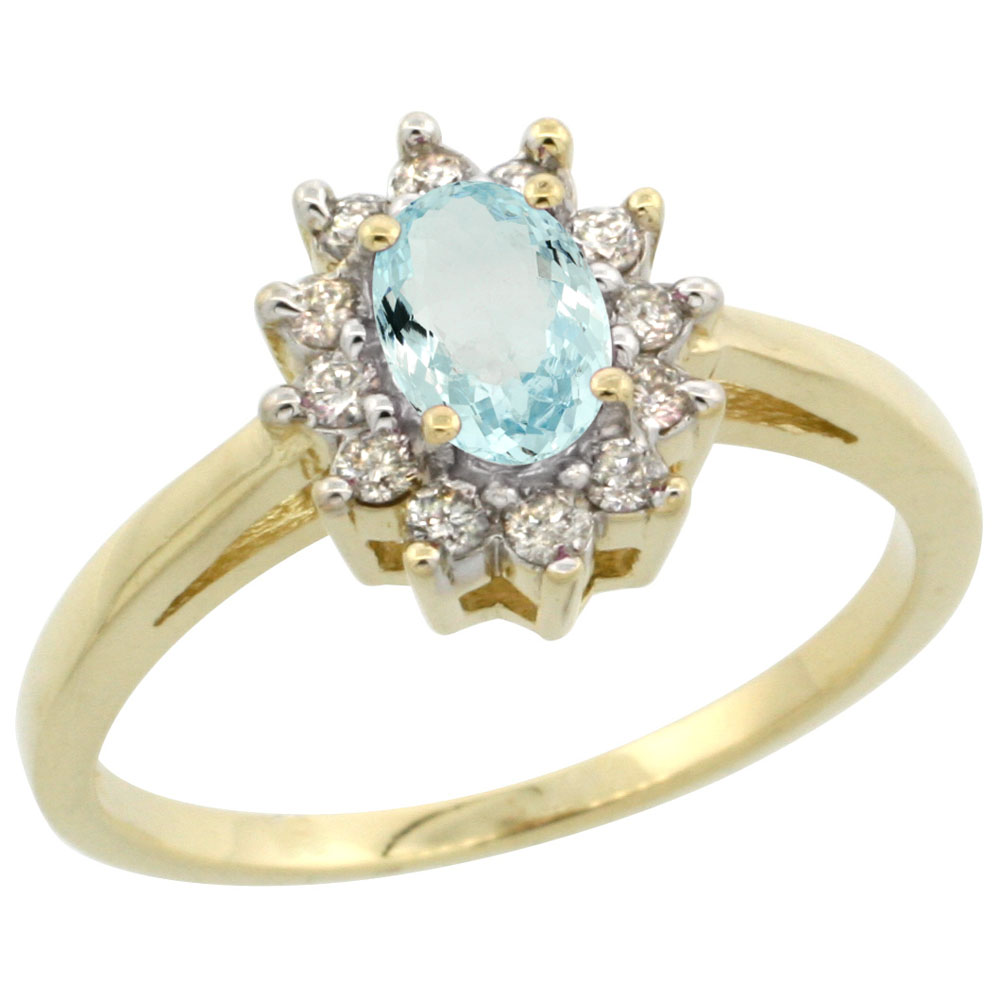 14K Yellow Gold Natural Aquamarine Flower Diamond Halo Ring Oval 6x4 mm, sizes 5 10