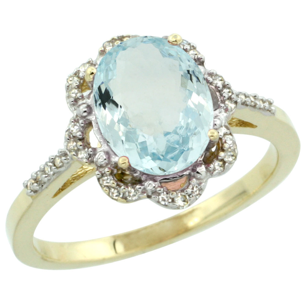 10K Yellow Gold Diamond Halo Natural Aquamarine Engagement Ring Oval 9x7mm, sizes 5-10