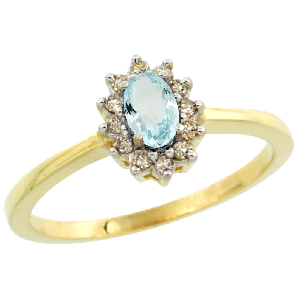 14K Yellow Gold Natural Aquamarine Ring Oval 5x3mm Diamond Halo, sizes 5-10
