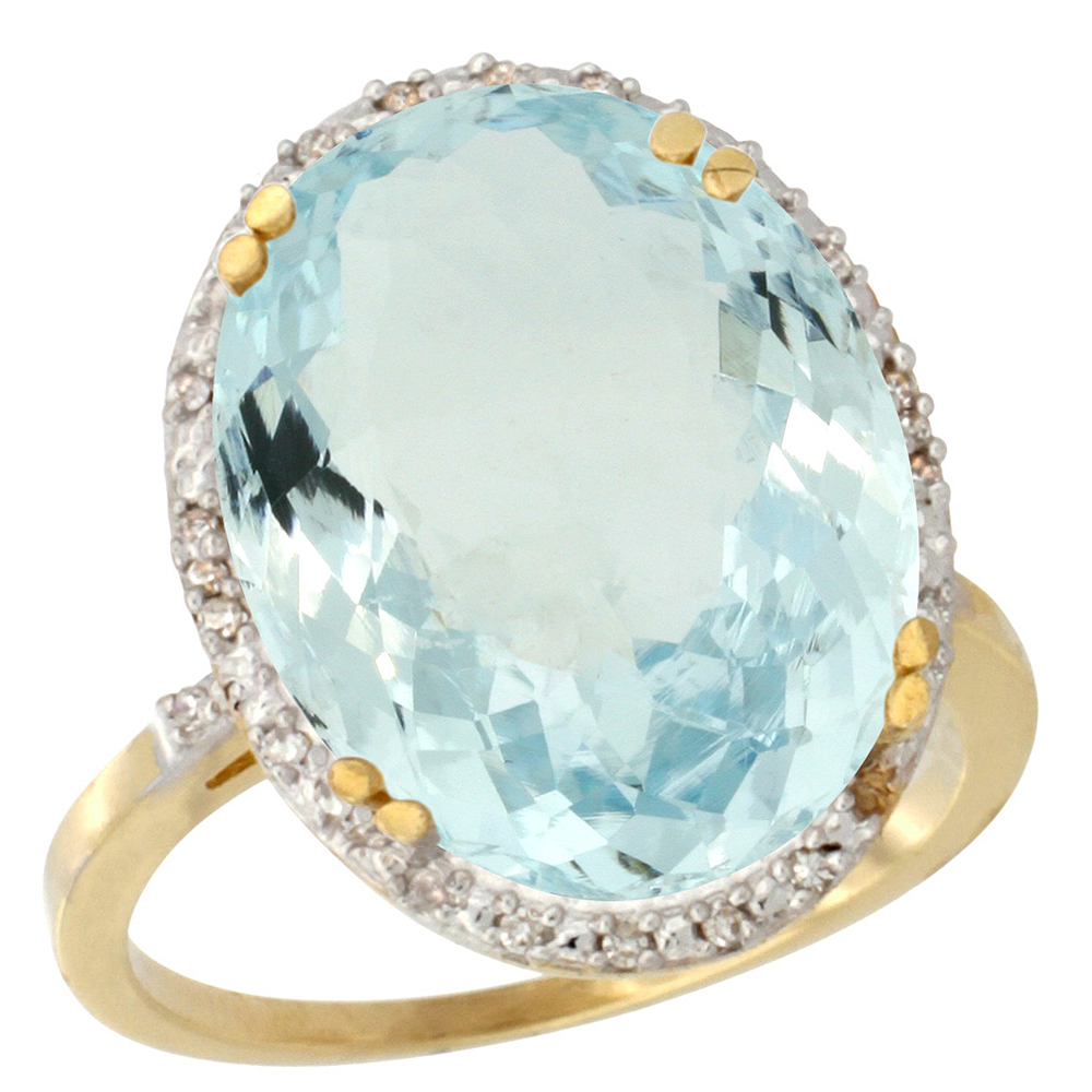 10k Yellow Gold Natural Aquamarine Ring Large Oval 18x13mm Diamond Halo, sizes 5-10