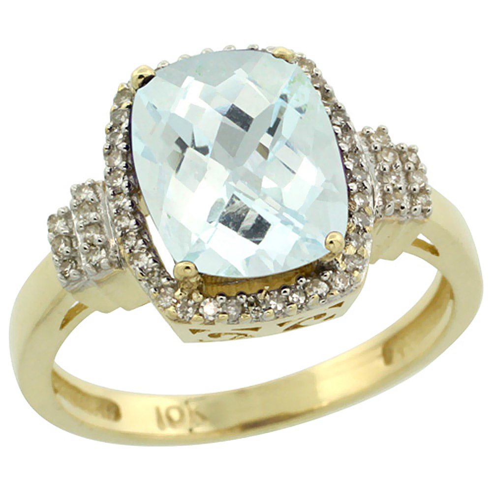 10k Yellow Gold Natural Aquamarine Ring Cushion-cut 9x7mm Diamond Halo, sizes 5-10