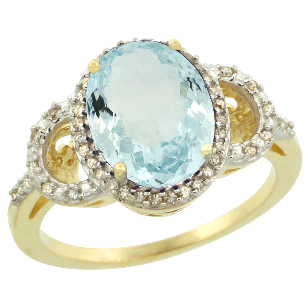 14K Yellow Gold Diamond Natural Aquamarine Engagement Ring Oval 10x8mm, sizes 5-10