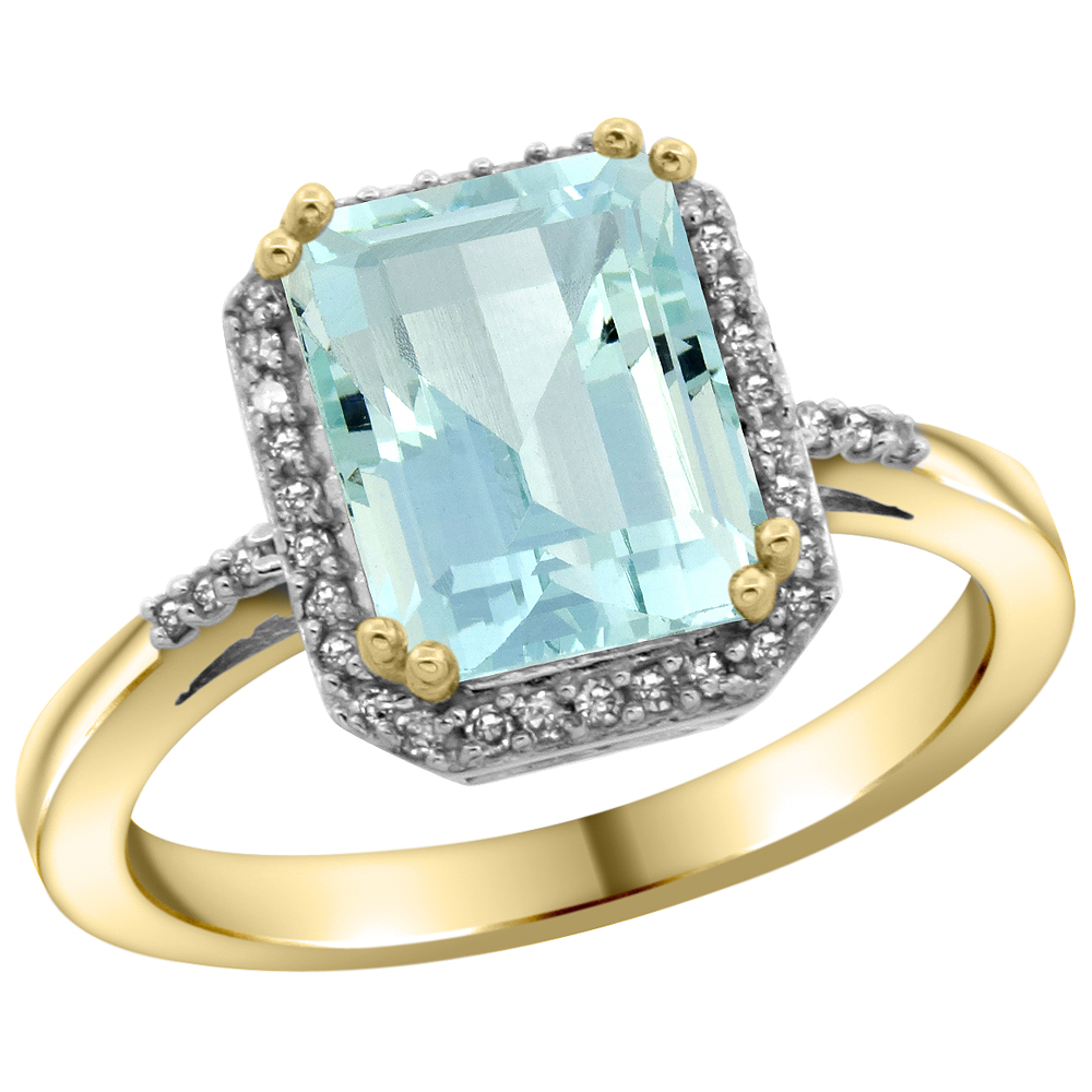14K Yellow Gold Diamond Natural Aquamarine Ring Emerald-cut 9x7mm, sizes 5-10