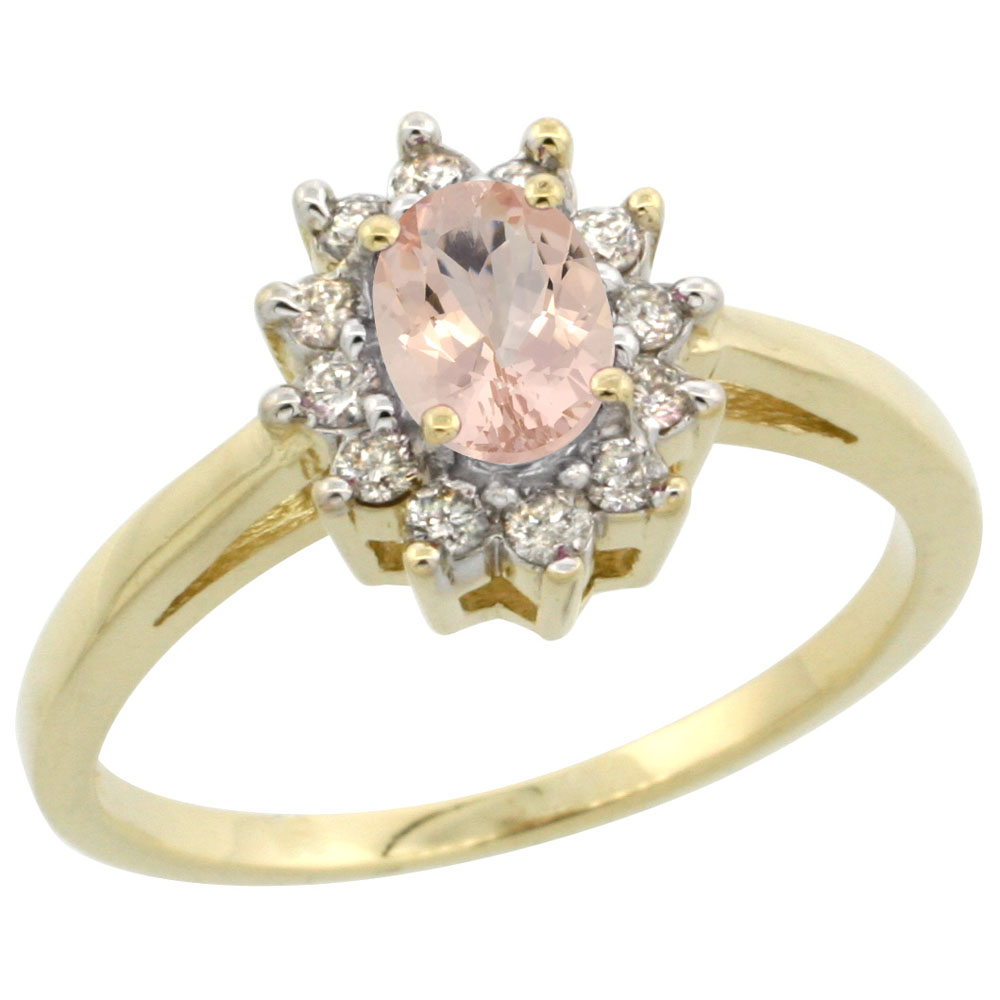 14K Yellow Gold Natural Morganite Flower Diamond Halo Ring Oval 6x4 mm, sizes 5 10