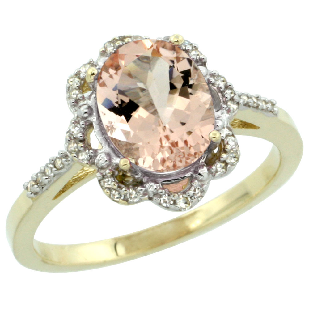 14K Yellow Gold Diamond Halo Natural Morganite Engagement Ring Oval 9x7mm, sizes 5-10