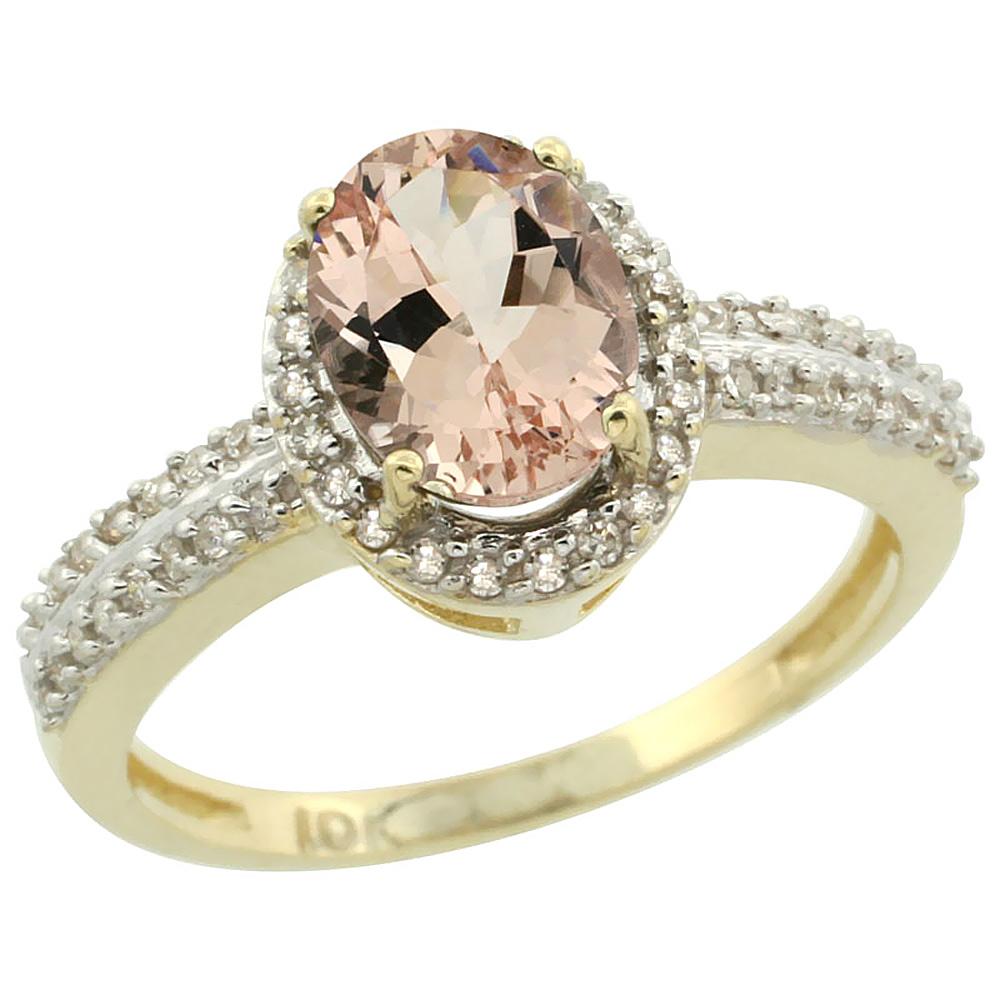 14K Yellow Gold Natural Morganite Ring Oval 8x6mm Diamond Halo, sizes 5-10