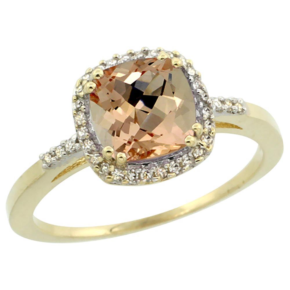 14K Yellow Gold Natural Diamond Morganite Ring Cushion-cut 7x7mm, sizes 5-10