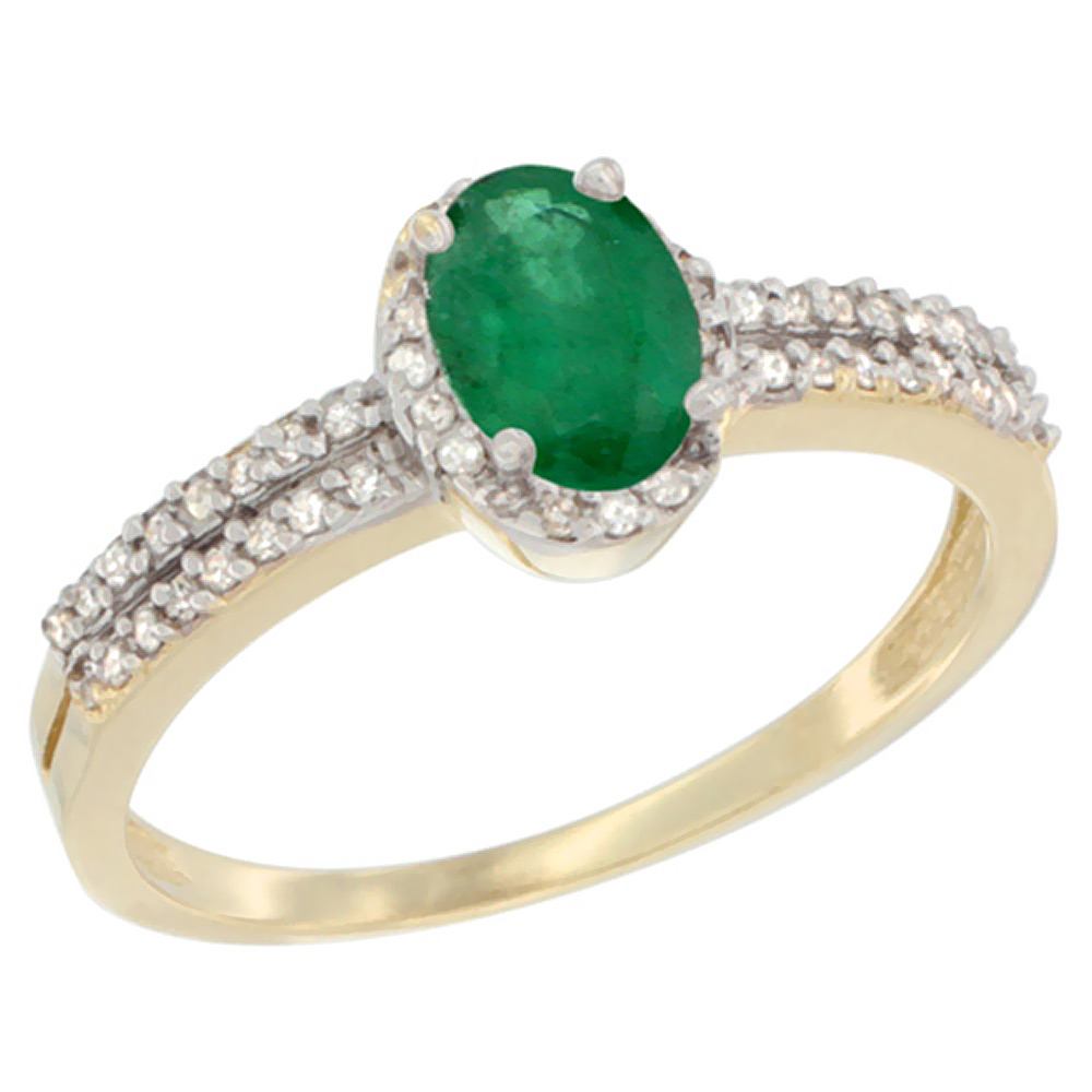 14K Yellow Gold Natural Cabochon Emerald Ring Oval 6x4mm Diamond Accent, sizes 5-10