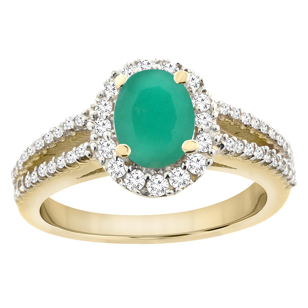 14K Yellow Gold Natural Cabochon Emerald Split Shank Halo Engagement Ring Oval 7x5 mm, sizes 5 - 10
