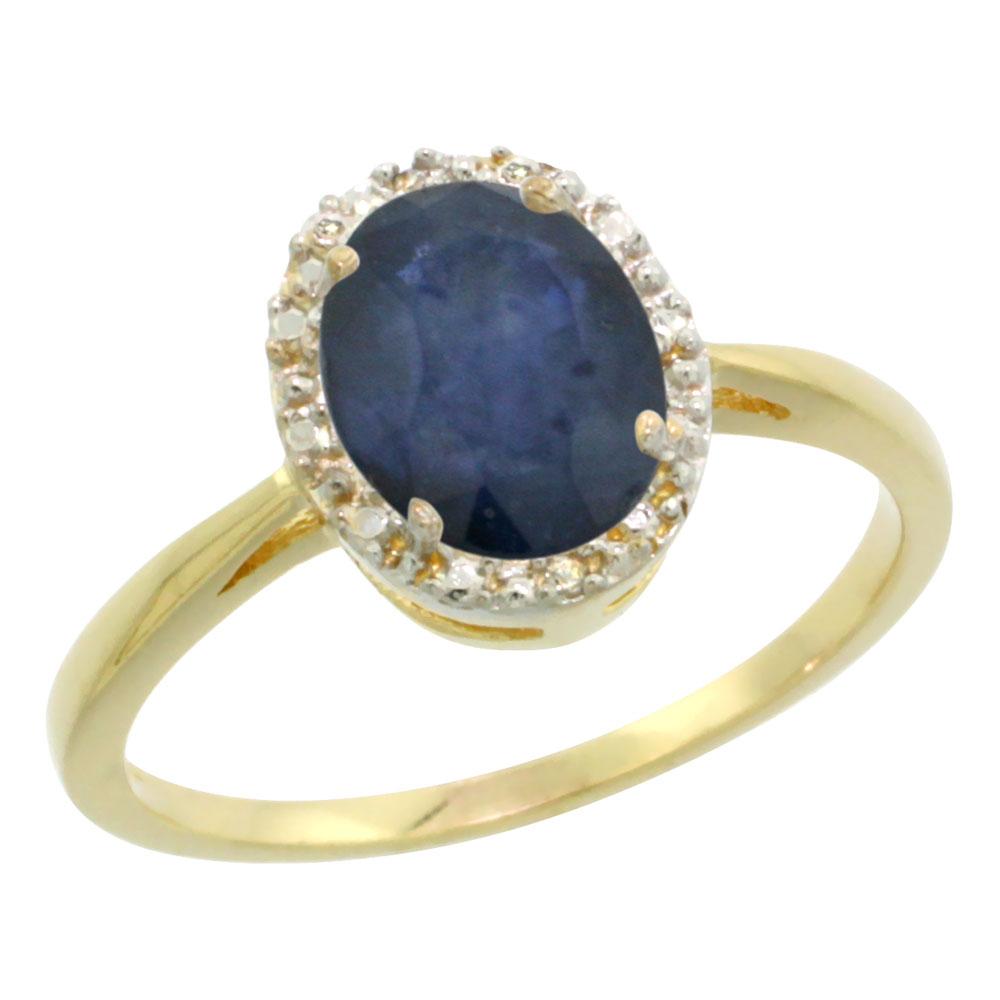 14K Yellow Gold Natural Australian Sapphire Diamond Halo Ring Oval 8X6mm, sizes 5 10