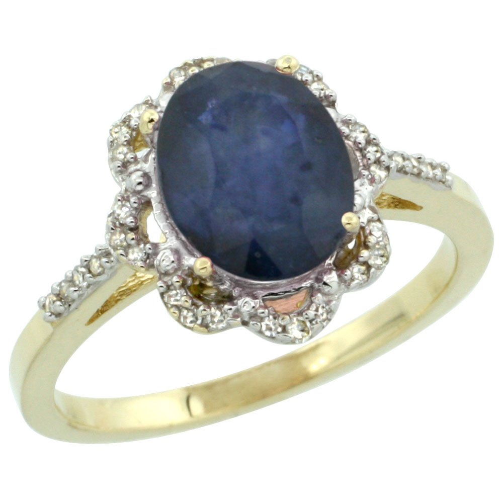 14K Yellow Gold Diamond Halo Natural Blue Sapphire Engagement Ring Oval 9x7mm, sizes 5-10