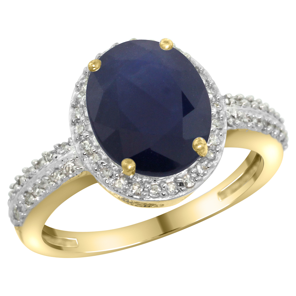 14K Yellow Gold Diamond Natural Blue Sapphire Engagement Ring Oval 10x8mm, sizes 5-10