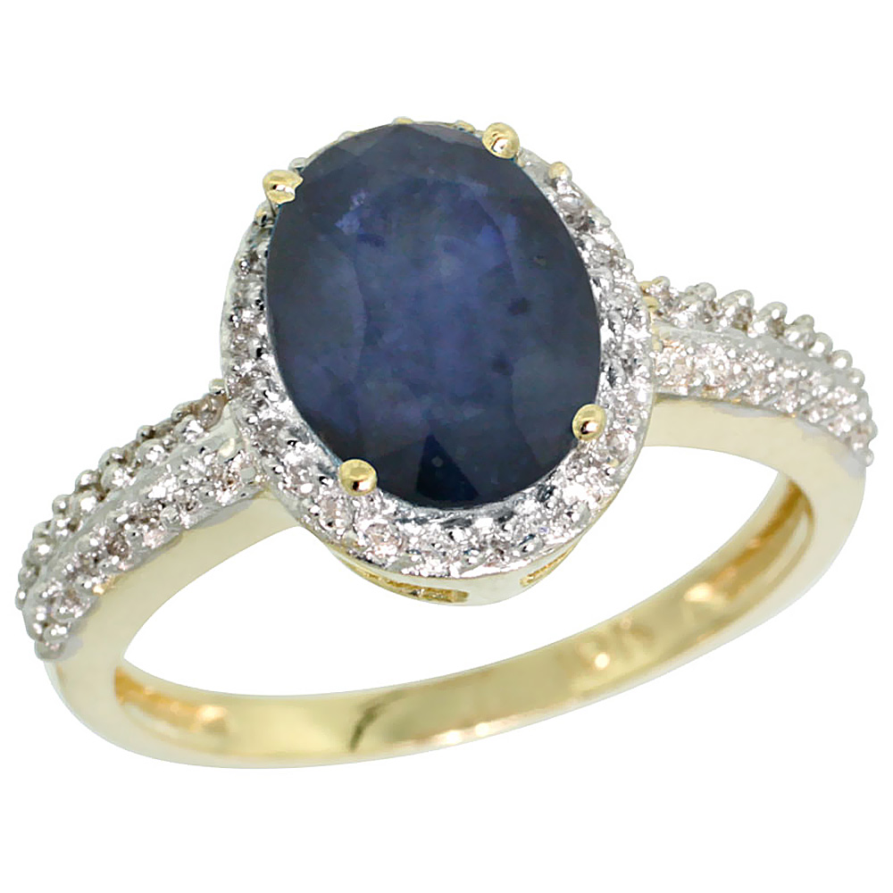 14K Yellow Gold Natural Diamond Blue Sapphire Ring Oval 9x7mm, sizes 5-10