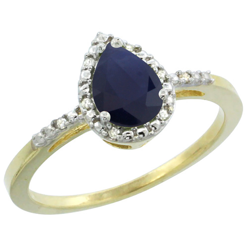 14K Yellow Gold Diamond Natural Blue Sapphire Ring Pear 7x5mm, sizes 5-10