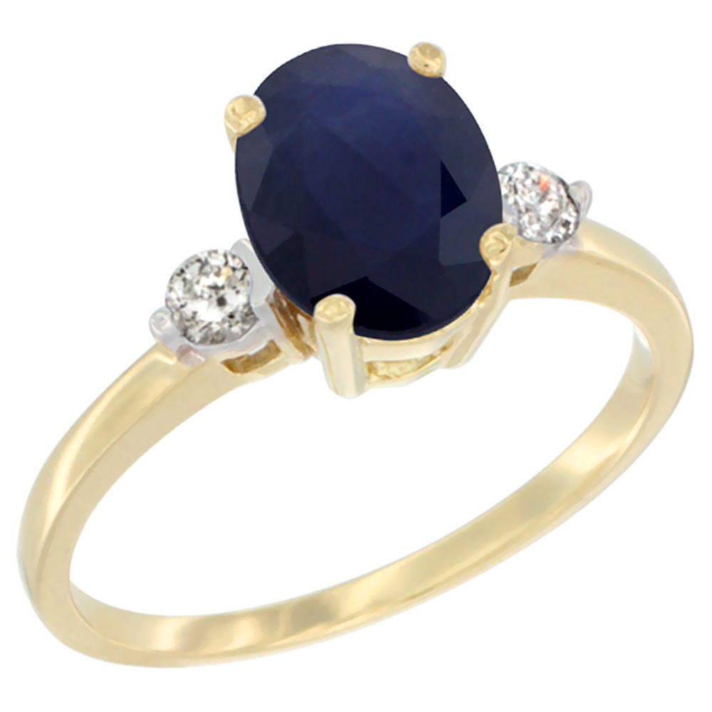 14K Yellow Gold Natural Diffused Ceylon Sapphire Ring Oval 9x7 mm Diamond Accent, sizes 5 to 10