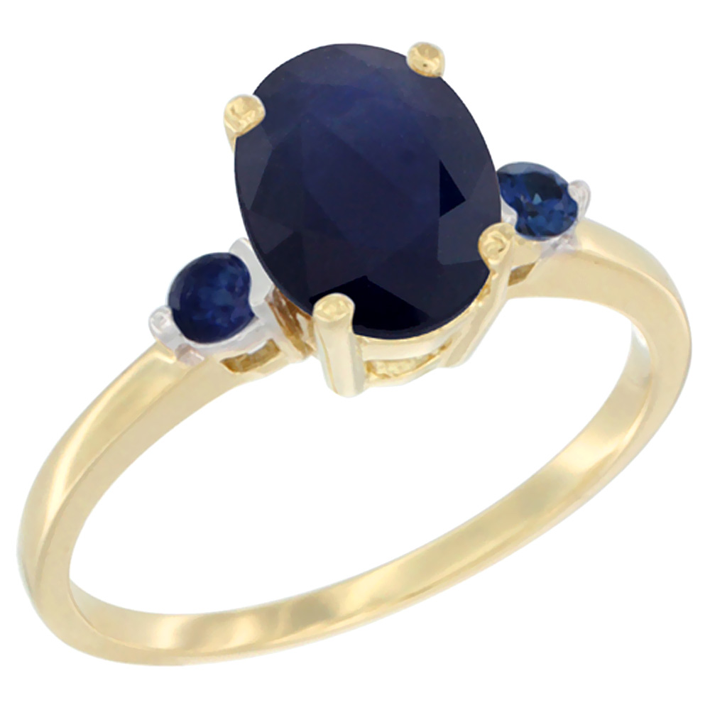 10K Yellow Gold Natural Diffused Ceylon Sapphire Ring Oval 9x7 mm Blue Sapphire Accent, sizes 5 to 10
